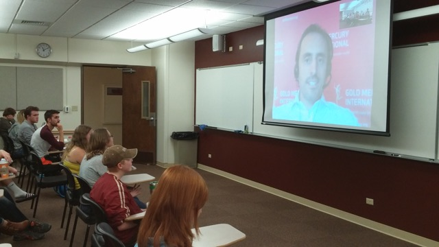 Brand EU gives class lecture at University of Wyoming