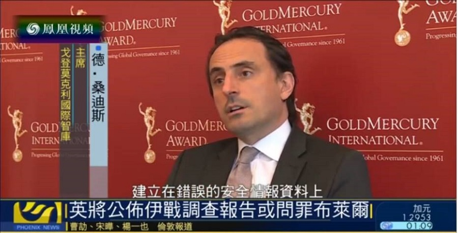 Phoenix TV News, China's biggest independent TV Channel, interviews Nicolas De Santis