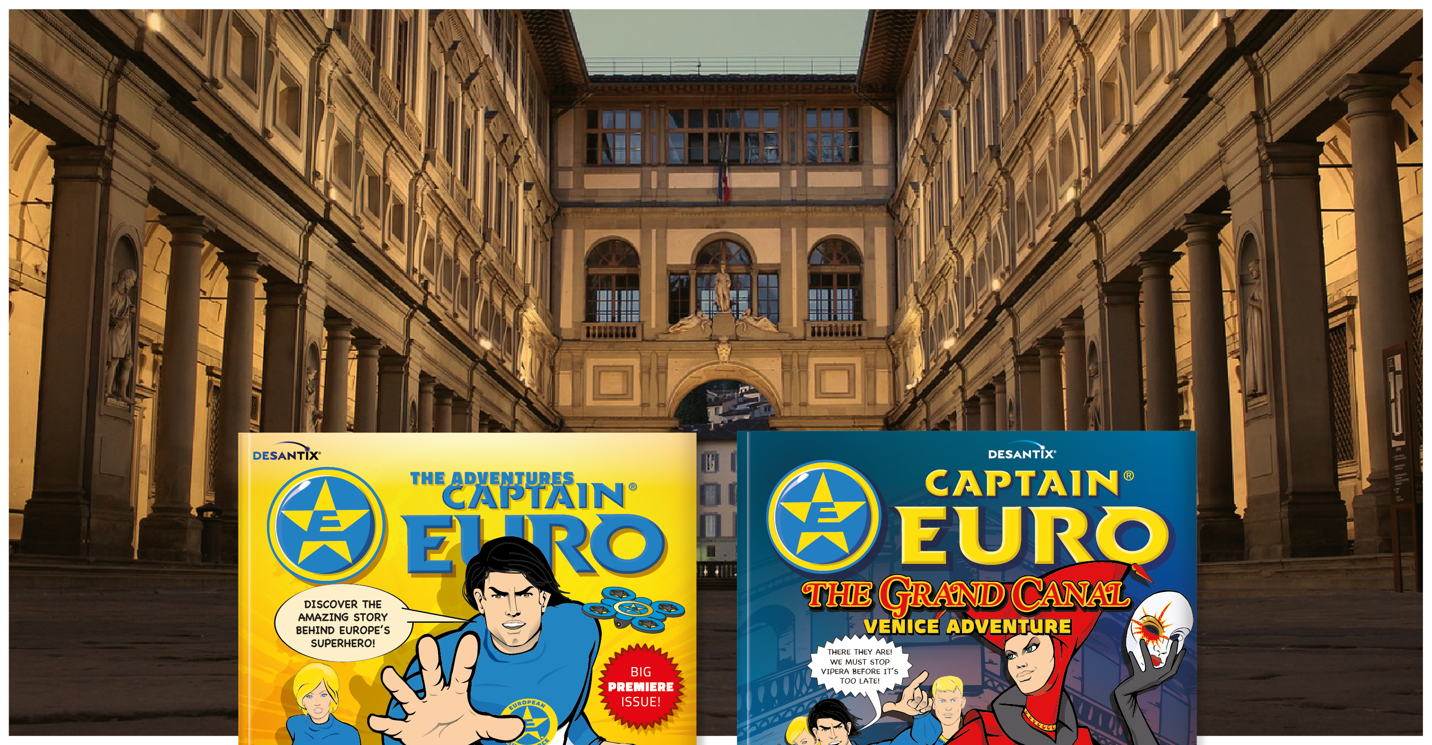 Captain Euro adventure comics at the Uffizi Gallery in Florence!